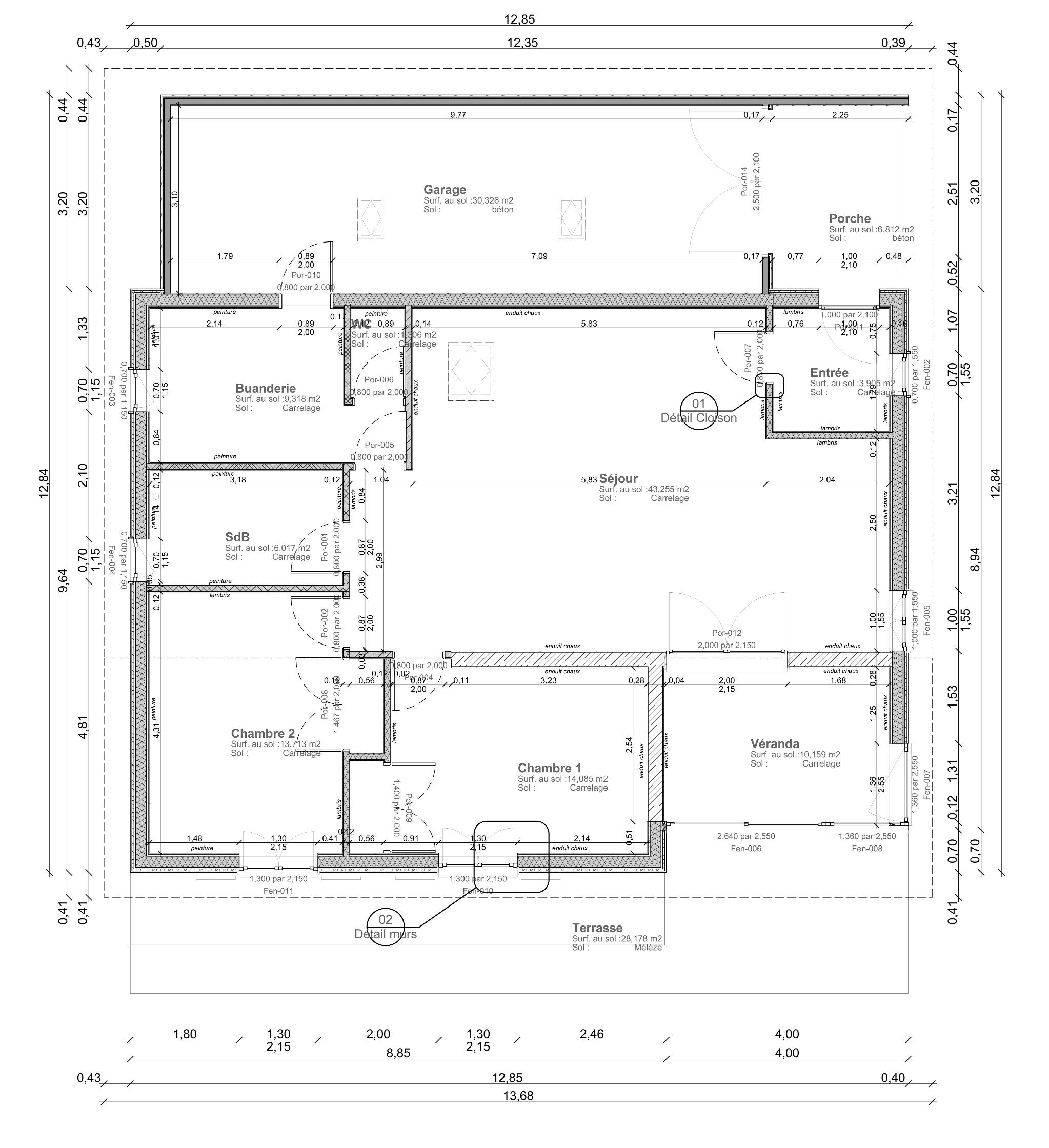 Maison ossature bois bioclimatique Matthieu Dupont de Dinechin, architecte DPLG # Plan De Maison Ossature Bois